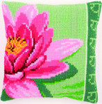 PNV156008 Vervaco Pink Lotus Flower Cushion