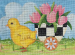 HO1461 Raymond Crawford Designs CHICK PULLING EGG WITH CHECKERED EGG BASKET-6.75 X 9.0  18 mesh