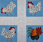 CO-35 Chicken, chicken, chicken, rooster 4 per canvas 18 Mesh COASTER The Meredith Collection