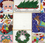F-172 Christmas Patchwork 4 x 4 18 Mesh FRAME Meredith Collection
