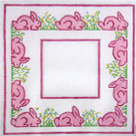 F-100 Pink Bunnies and Flowers 4 x 4 18 Mesh FRAME Meredith Collection