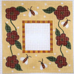 F-141 Bees and Flowers with Check Border 3 1/2x5 13  Mesh FRAME Meredith Collection