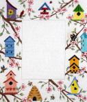 F-116a Birdhouses in Dogwood 5 x 7 18 Mesh FRAME Meredith Collection