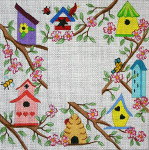 F-116 Birdhouses in Dogwood 4 x 4 18 Mesh FRAME Meredith Collection
