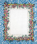 F-107a Miniature Roses on Blue Check 5 x 7 18 Mesh FRAME Meredith Collection