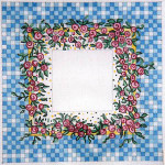 F-107 Miniature Roses on Blue Check 4 x 4 18 Mesh FRAME Meredith Collection