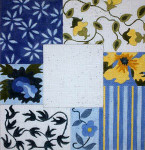 F-197 Blue & Yellow Floral Collage 4 x 4 18 Mesh FRAME Meredith Collection