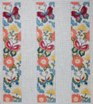 L-45 Oriental Butterfly Floral Three Straps 18 Mesh LUGGAGE STRAP The Meredith Collection