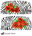 PB-471 Zebra with Orange Poppies 2 Sides 13 Mesh Purse PB-Adelaide The Meredith Collection