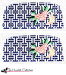 PB-38 Lattice with Flowers - Navy 2 Sides 18 Mesh Purse PB-Adelaide The Meredith Collection