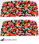 PB-184a Orange and Pink Poppies - Black Bkg. 2 Sides 18  Mesh Purse PB-Adelaide The Meredith Collection