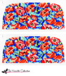 PB-184 Orange and Pink Poppies - Navy Bkg. 2 Sides 18 Mesh Purse PB-Adelaide The Meredith Collection