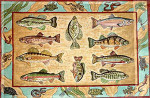 R-54 Freshwater Game Fish 31 x 46 10 Mesh Rug The Meredith Collection