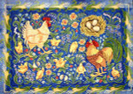 R-24 Roosters and Chickens 32 x 44 10 Mesh Rug The Meredith Collection