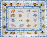 R-32 Tropical Fish with Double Sea Spray and Seashell Border 38 x 49  10 Mesh Rug The Meredith Collection