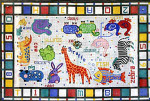R-63 Child's Alphabet Blocks and Animals 27 x 42 10 Mesh Rug The Meredith Collection