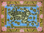 R-66 Frog and Waterlilies with Dragonfly Border 27 x 34 10 Mesh Rug The Meredith Collection