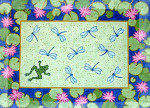 R-67 Dragonflies with Waterlily Border 41x30 10 Mesh Rug The Meredith Collection