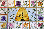 R-73 Flowers and Beehive 24 x 36 13 Mesh Rug The Meredith Collection