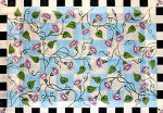 R-78 Morning Glories with black and white check border 31 x 44 10 Mesh Rug The Meredith Collection