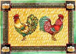 R-80 Roosters with Egg Border 30 x 42 10 Mesh Rug The Meredith Collection
