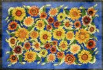 R-82 Sunflowers on blue 26 x 38 10  Mesh Rug The Meredith Collection