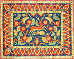 R-83 Stag and Pomegranates 40 x 49 10 Mesh Rug The Meredith Collection