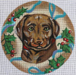 "XO-61a Chocolate Lab with Holly 6"" Round 18 Mesh The Meredith Collection"