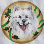 "XO-61h Samoyed with Holly 6"" Round 18 Mesh The Meredith Collection"