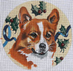 "XO-61n Welsh Corgi with Holly 6"" Round 18 Mesh The Meredith Collection"