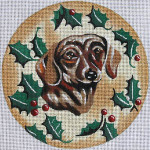 "XO-61o Dachshund with Holly 6"" Round 18 Mesh The Meredith Collection"