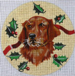 "XO-61r Golden Retriever with Holly 6"" Round 18 MeshThe Meredith Collection"