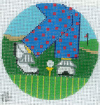 "XO-174p Golf Feet - Man - Polka Dot 5"" Round 13 Mesh The Meredith Collection"