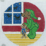 """XO-175w Waiting for Santa Bear 5"""" Round 13 Mesh The Meredith Collection"""