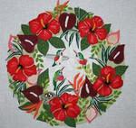B378 Hummingbird Tropical Wreath Melissa Prince WREATH 18 Mesh 14 X 14