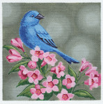 LL317 Indigo Bunting on Pink Flowers 18	Mesh 6x6 Labors Of Love