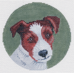 """LL414M-Orn Labors Of Love 18 Mesh Jack Russell Ornament 4"""" Round"""