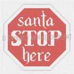 SC-09 Santa STOP Here, Ornament #18 4X4 KIMBERLY ANN NEEDLEPOINT