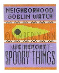HSS-11 Neighborhood Goblin Watch, Ornament #18 3.25X4 KIMBERLY ANN NEEDLEPOINT