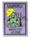 HSS-10 Warning- Haunted House, Ornament #18 3X4.25 KIMBERLY ANN NEEDLEPOINT