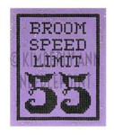 HSS-04 Broom Speed Limit, Ornament #18 3.25X4 KIMBERLY ANN NEEDLEPOINT
