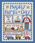 11-1595 Happy Birth Day (Boys) 123 x 95 Sue Hillis Designs