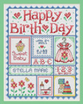 11-1596 Happy Birth Day (Girls) 123 x 95 Sue Hillis Designs