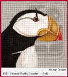 4181 Leigh Designs Horned Puffin 18 Count Canvas