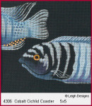 4306 Leigh Designs Cobalt Cichlid 18 Count Canvas  Includes Stitch Guide