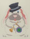 D-361 Li'l Ms. Brown's Bunny-New Year 6x5 18 Mesh DECORATIONS
