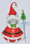 LD-24 Santa Cat With stitch guide 3 ¼ x 5 18 Mesh LAINEY DANIELS