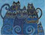 LB-11 Indigo Cats With stitch guide 14 x 11 13 Mesh Danji Designs LAUREL BURCH
