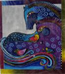 LB-06 Aquatic Mares With stitch guide 14 x 16 18 Mesh Danji Designs LAUREL BURCH