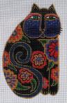 LB-14 Black Floral Cat With stitch guide  3 x 5 18  Mesh Danji Designs LAUREL BURCH